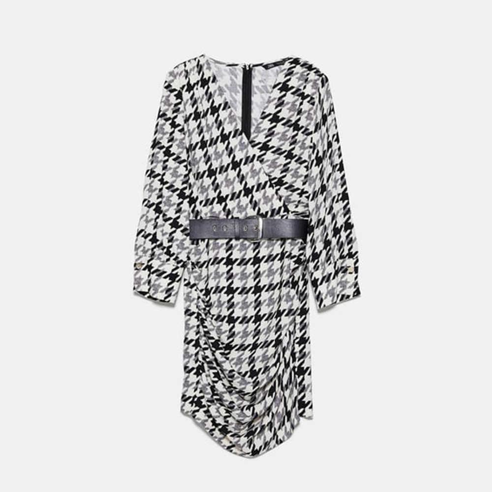 Za 2019 осеннее Новое клетчатое платье с поясом, модная женская одежда в западном стиле, повседневное приталенное платье с v-образным вырезом, вечерние платья для путешествий и отдыха, оптовая продажа