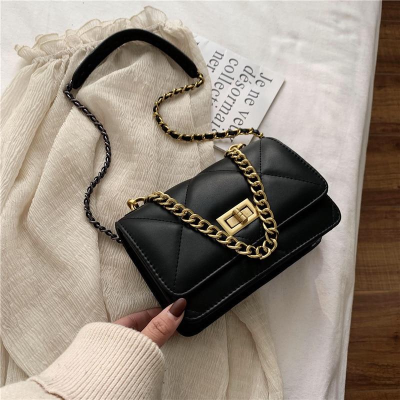 2020 New Ladies Bag Fashion Casual Messenger Bag Lattice Chain Bag Shoulder Bag Pure Color PU Handbag Mobile Phone Bag Handbag