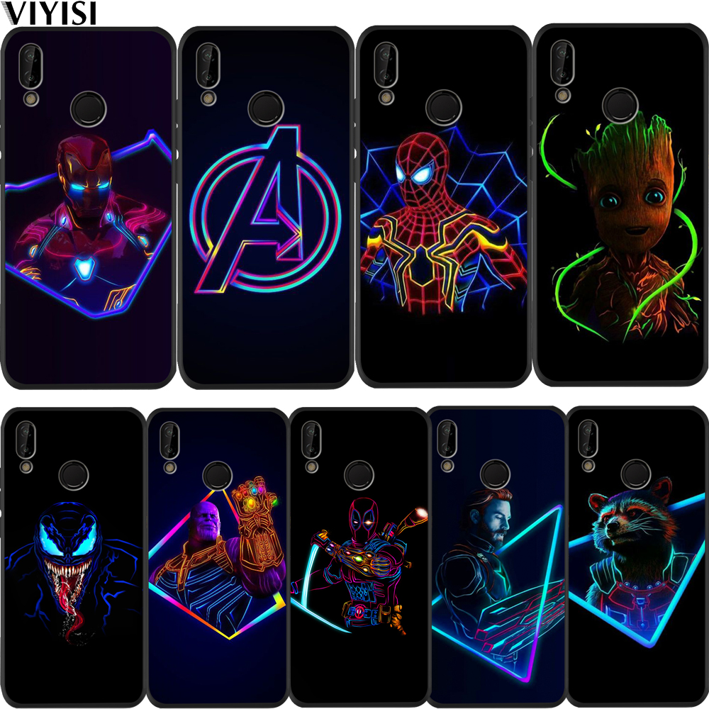 Marvel Avengers Spider-Man Groot <font><b>case</b></font> For Huawei P30 For huawei p20 lite Mate 20 lite <font><b>Honor</b></font> 8X 9 10 <font><b>20i</b></font> V20 PSmart 2018 Etui image