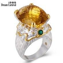 DreamCarnival 1989 New Arrive Crown Look Women Wedding Rings Cushion Cut Zircon Big Silver Gold Color Elegant Jewelry  WA11717