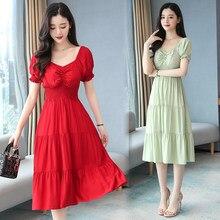 Vestido de manga curta das mulheres roupas vestido donna eleganti vestidos mujer casual elegante robe femme chique chiffon vermelho playa