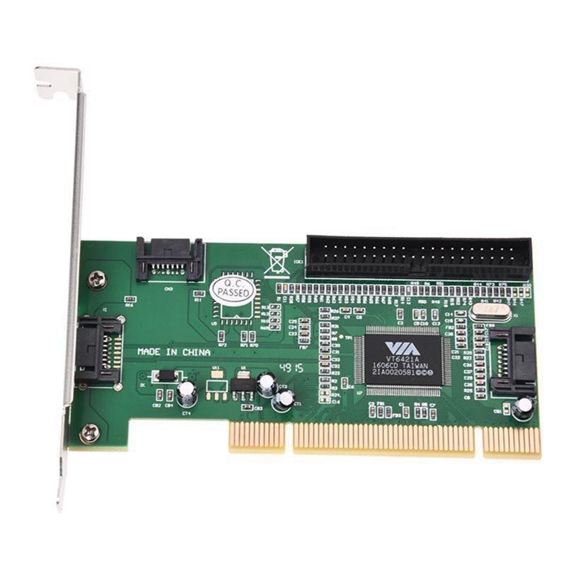 4 Port Sata Pci Expansion Card &Ide Via VT6421a Chipset O9N8