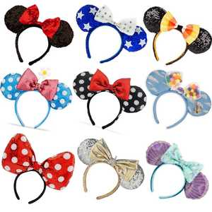 NEW Minnie mickey sequin Purple Aulani Gold Flower DOT Ariel EARS COSTUME Hallowmas Headband Cosplay Plush Gift 24 Styles(China)