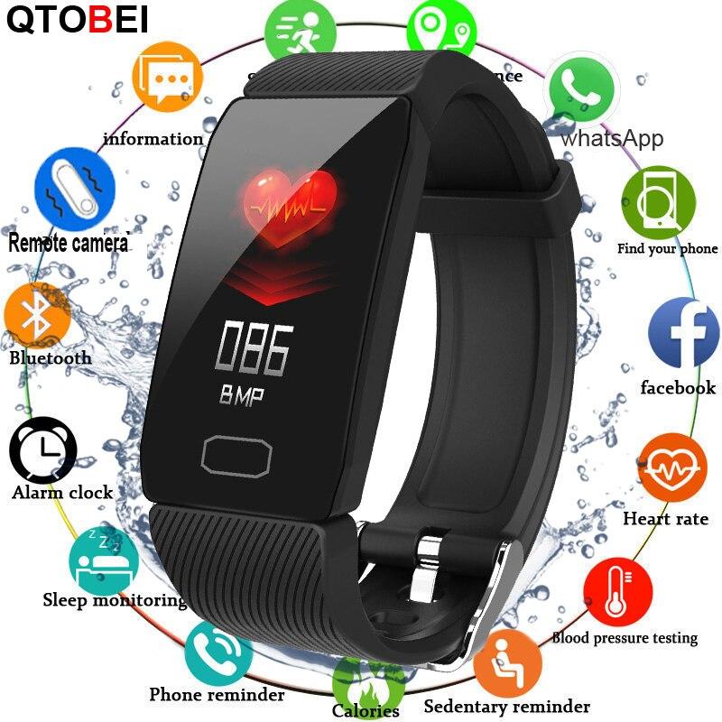 2020 Smart Bracelet Men Women Heart Rate Monitor Fitness Bracelet Pressure Measurement Sport Tracker Smart Bracelet Band Watch