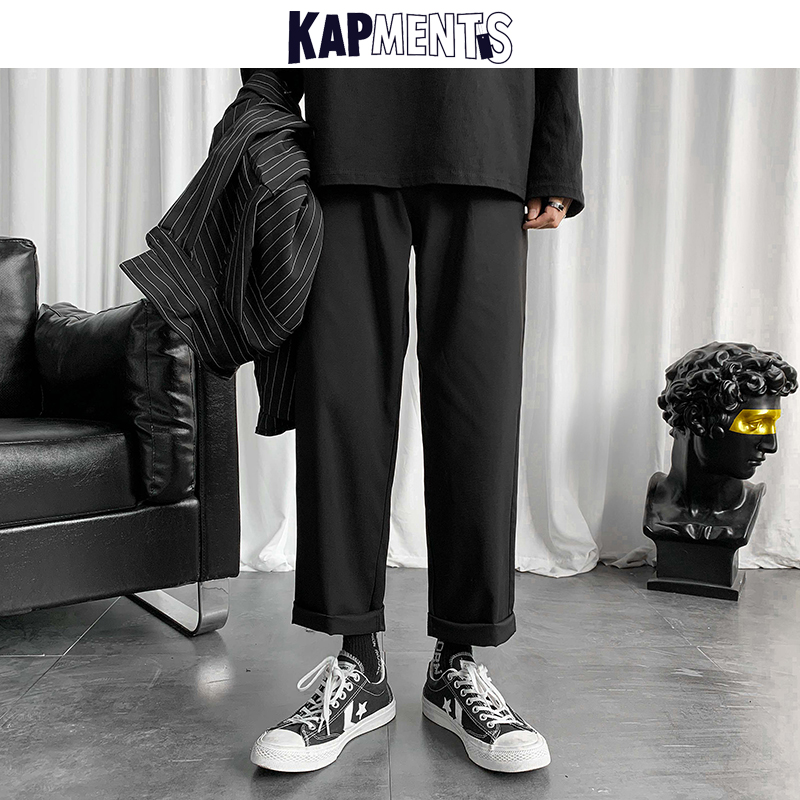 KAPMENTS Men Korean Casual Harem Pants 2020 Mens Japanese Streetwear High Waist Trousers Fashions Loose Straight Pants Plus Size