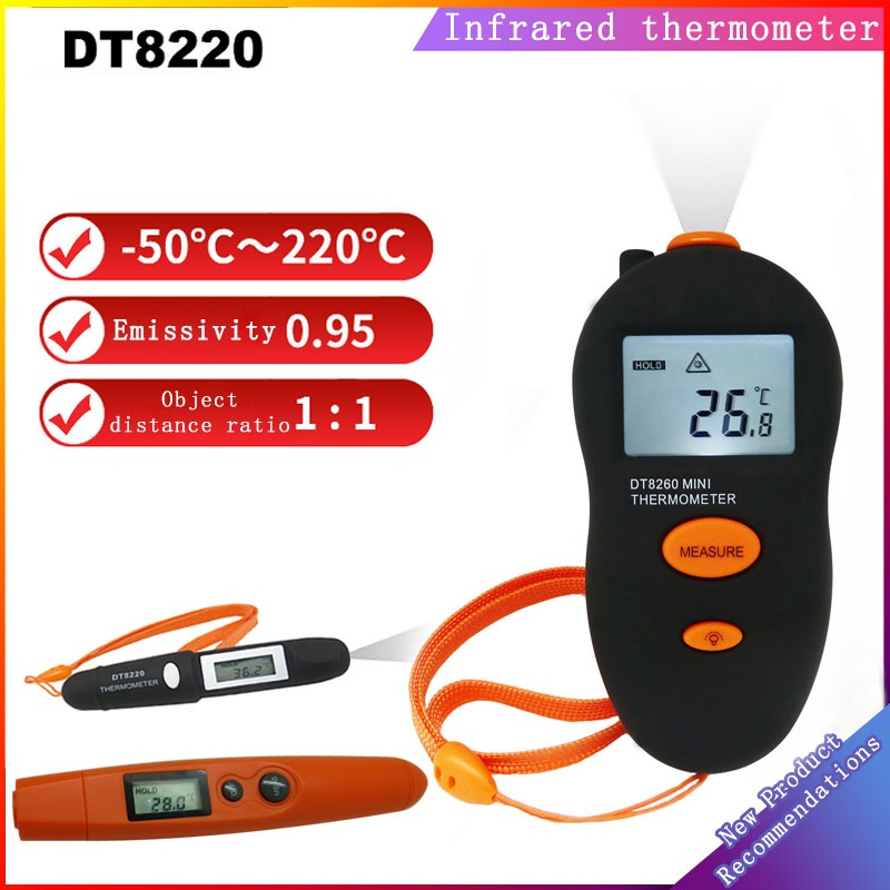 Non-Contact Mini Infrared Thermometer IR Temperature Measuring Digital LCD Display Infrared Thermometer Pen DT8220 Black orange