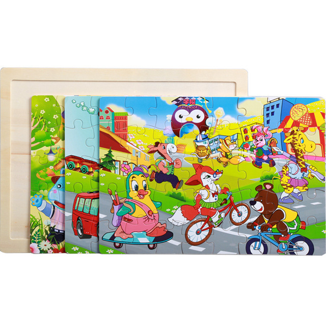 40 Pieces Kids Wooden Puzzle Board Toy Fun Cartoon Animal Jigsaw Boy Girl Baby Early Educational Learning Toys for Children Gift 4