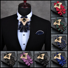 цены New Free Shipping fashion Men's male female Handmade striped bow tie Business Korean groomsman Wedding pocket towel SET pink