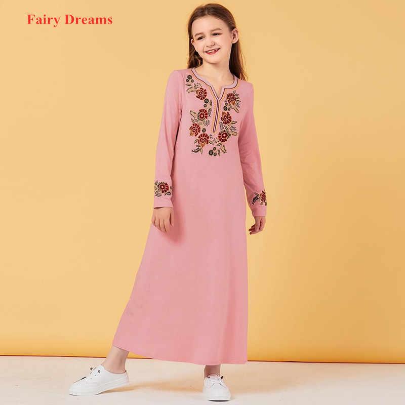 여자의 이슬람 드레스 자수 키즈 핑크 Abaya 두바이 터키 방글라데시 긴 드레스 Kaftan 터키 이슬람 의류 Vestidos