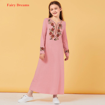 Girl's Muslim Dress Embroidery Kids Pink Abaya Dubai Turkey