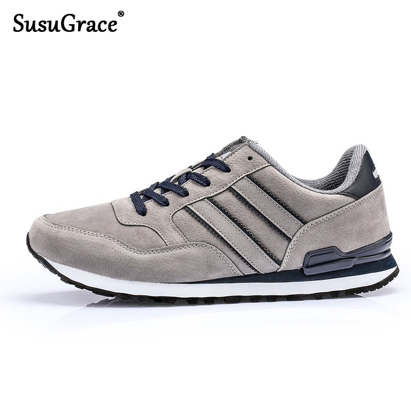 Susugrace Men Sneakers Running Shoes Outdoor Trainers Breathable Cemented Sports Shoes Ultra Light Walking Shoes Black Blue Grey