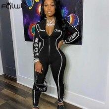 Fqlwl etiqueta sorte streetwear preto bodycon macacão feminino macacão sportwear zíper uma peça de manga longa das senhoras macacão feminino
