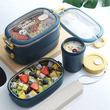 Paslanmaz çelik yalıtımlı yemek kabı öğrenci okul çok katmanlı yemek kabı sofra Bento gıda konteyner depolama kahvaltı kutuları