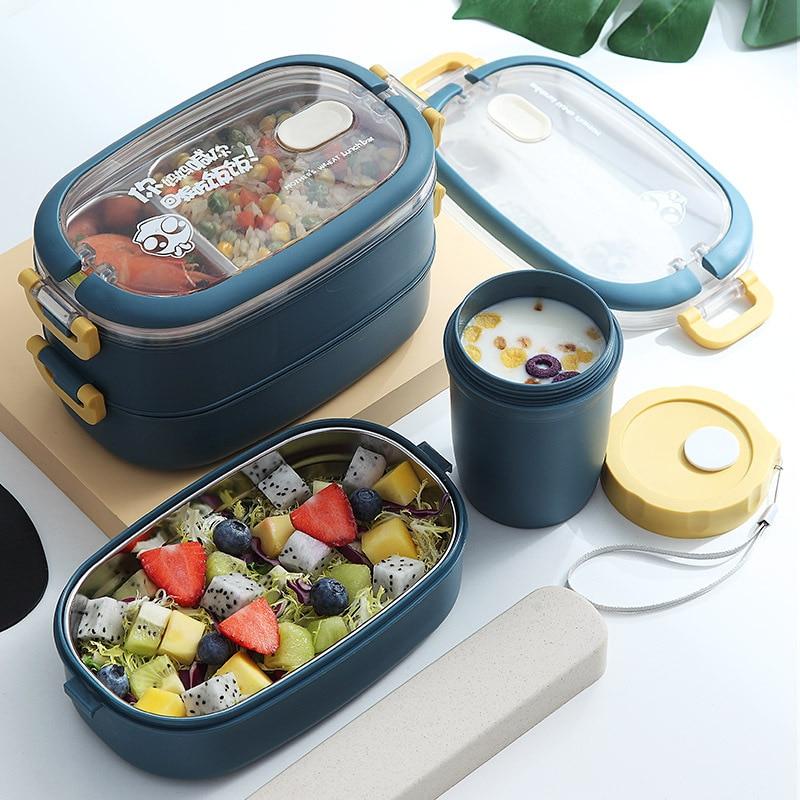 Boîtes à déjeuner de stockage de récipient de nourriture de Bento de vaisselle de boîte à déjeuner multicouche décole détudiant de boîte à déjeuner isolée par acier inoxydable