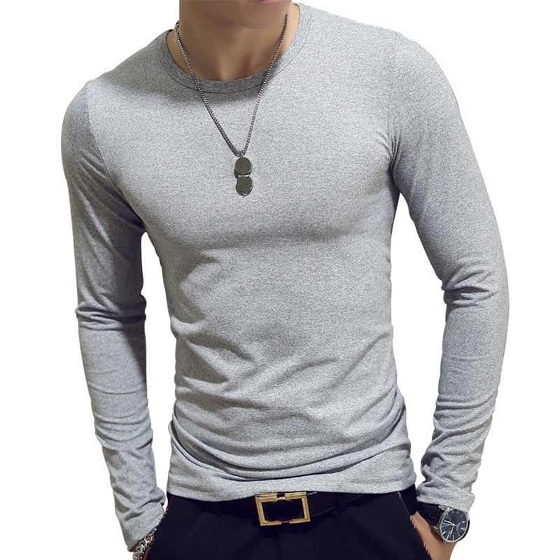 Men T-Shirts Long Sleeve O-Neck Casual Autumn Fitness Jogging Solid TShirt Fashion Tee Basic Running Homme Top Clothing 7colors