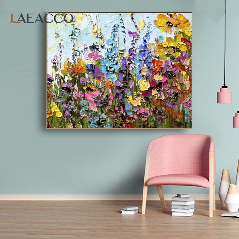 Laeacco Scandinavia Watercolor Flowers Nordic Canvas Poster and Prints Living Room House Wall Art Painting Home Decor Picture