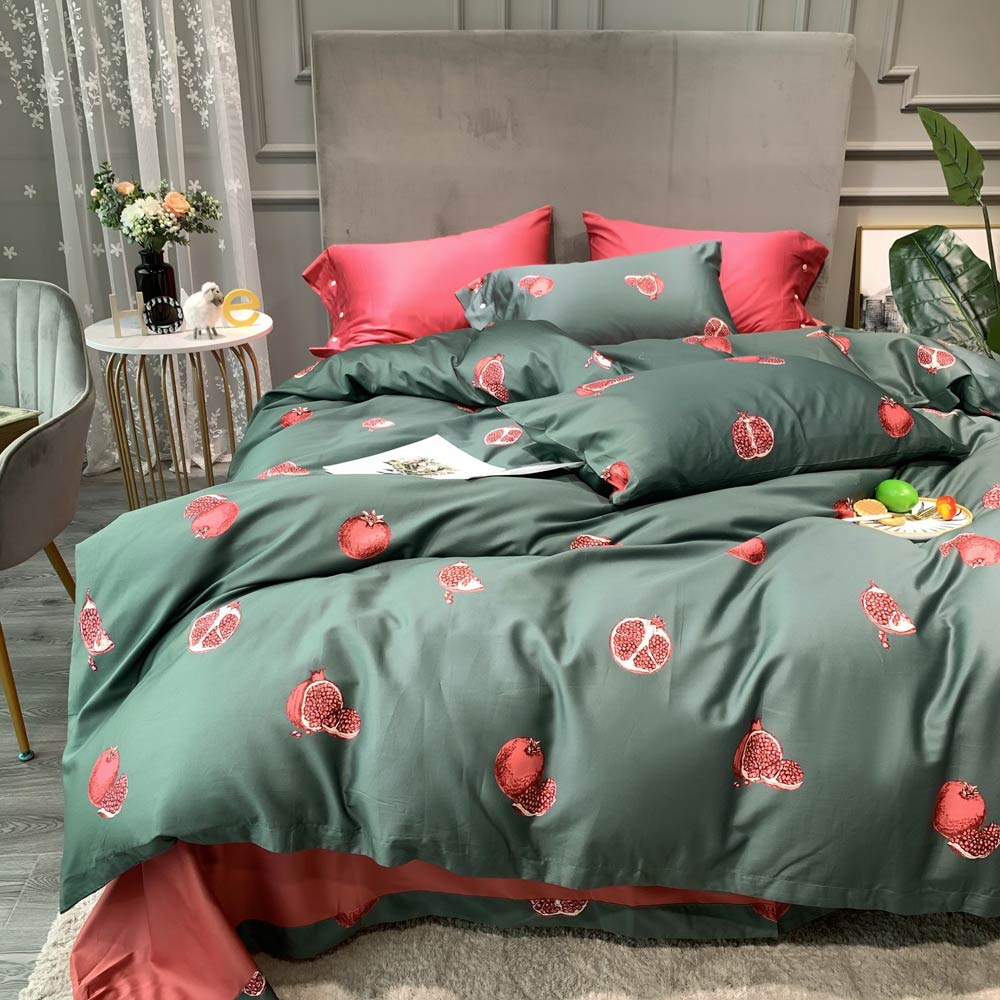 Papa&Mima 100% Egyptian Cotton Silkly Bed Linen Printed Bedding Set Queen King Double Full Size|Bedding Sets| |  - title=