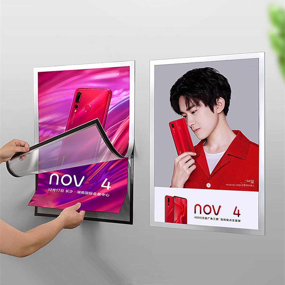 Plastic PVC Poster Picture Paper Display Holder Frame A2 A3 A4 Store Advertisement Promotion No Punch Holes On Wall 4 Sets