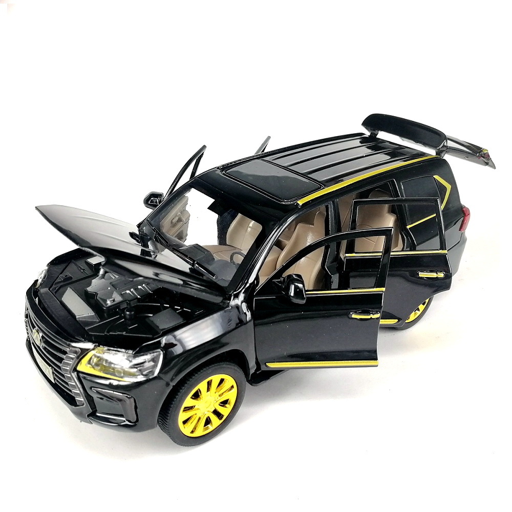 1:24 Alloy <font><b>Car</b></font> LX570 Luxury SUV <font><b>Model</b></font> Diecast Golden <font><b>Wheel</b></font> Hub With Light& Engine Sounds Box Packing image