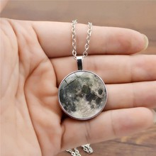 Fashion Casual Unisex Galaxy Grey Moon Crystal Gemstone Chain Silver Necklace Hanging Accessories Gifts