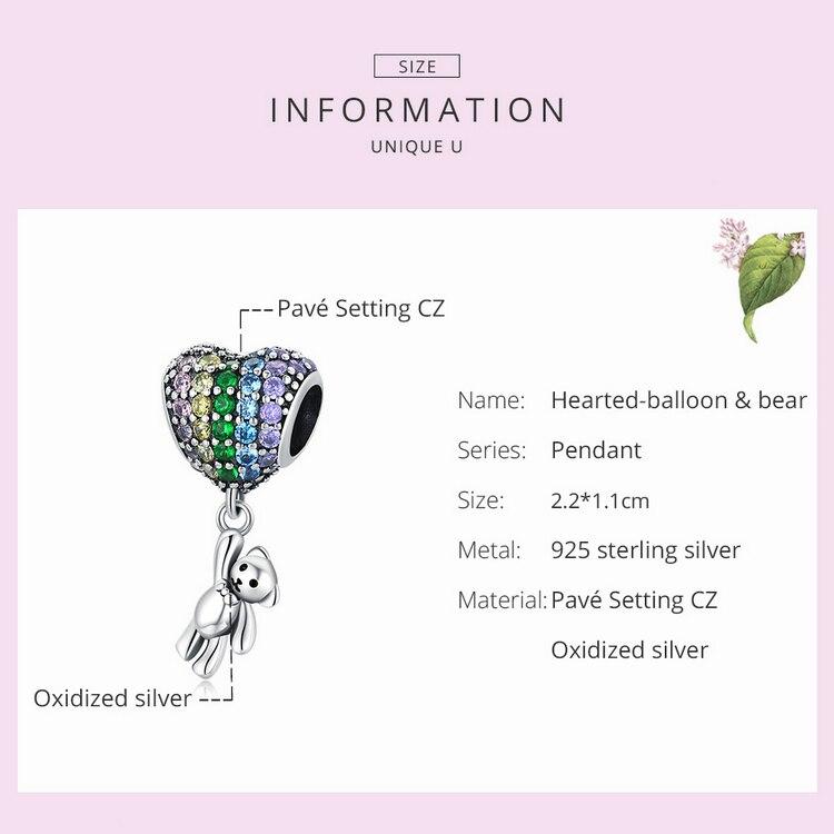 silver Luxury Silver Rainbow Heart Blue Crystal Balloon Bear Charm 925 Sterling Silver Pendant for Original Bracelet DIY Jewelry