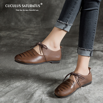 Cuculus 2020 Genuine Leather Spring Autumn Handmade Comfortable Shoes Women Loafers Soft Full-grain Cow Leather Women Flats