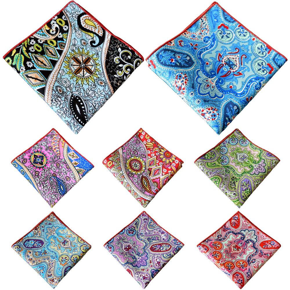 Men Accessories Pocket Square Hanky Men's Colorful Paisley Floral Handkerchief YXTIE0317
