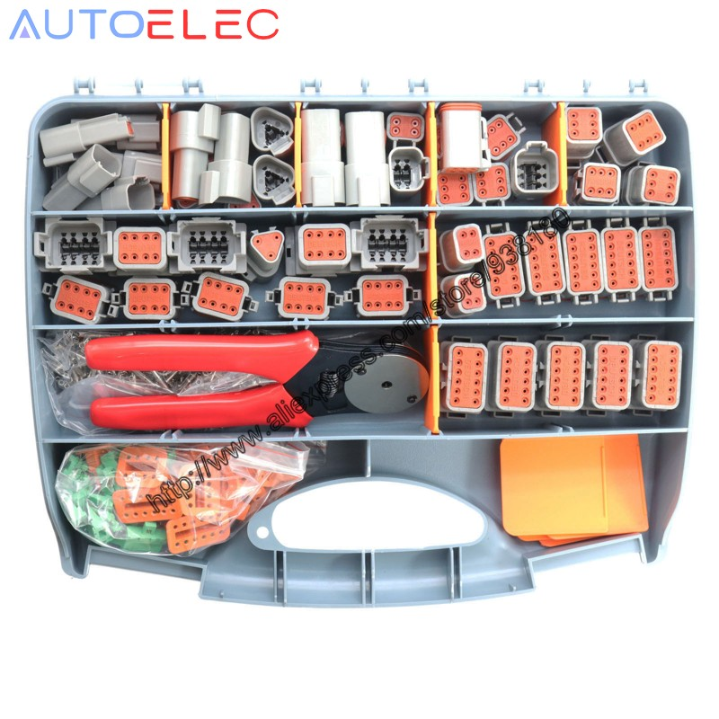 471 PCS Gray Deutsch DT Series Automotive Connector Kit With Solid Terminals Crimper +16-20AWG Solid Terminals+Tool Box