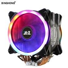 Кулер из чистой меди для ЦП с 4 тепловыми трубками, AM4, RGB, 120 мм, тихий вентилятор охлаждения для LGA 775, 1151, 1155, 1356, 1366, AM3, AMD, X79, X99, 2011, вентиляторы д...
