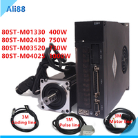 80ST M02430 750W AC Servo motor 3000RPM 2.4 N.m 0.75KW + Matched Driver permanent magnet 80ST servomotor Single Phase 220V