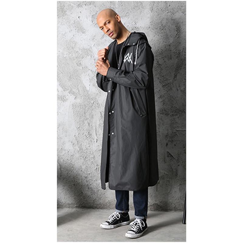 2019 Hot Sale Stylish EVA Black Adult Raincoat Alan Walker Pattern Outdoor Men's Long Style Hiking Poncho Environmental