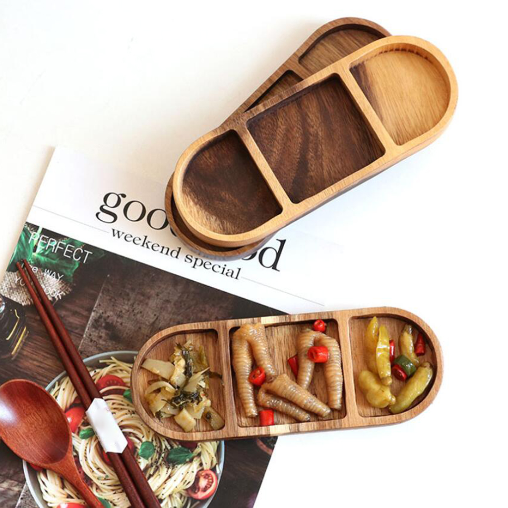 Baguette En Bois Decorative vintage wooden divided serving tray for party holidays