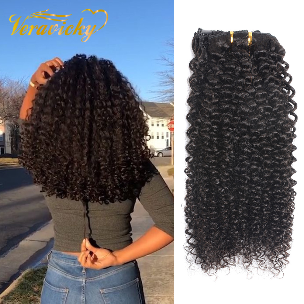 Veravicky Hair Kinky Curly Clip In Human Hair Extensions Natural Black Brazilian Machine Made Remy Human Hair Clip Ins