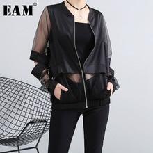 Женский свободный пиджак EAM, прозрачный жакет большого размера с воротником стойкой и длинным рукавом, весна 2020