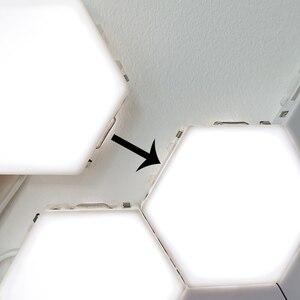 Image 4 - Nowoczesna lampa sufitowa LED loft brytyjski kreatywny Honeycomb modułowy montaż Helios ekran dotykowy lampy lampa kwantowa ściana magnetyczna światło