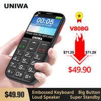 UNIWA V808G Forte Torcia Push-Button Forte Cellulare Big SOS 3G Inglese Russo Tastiera 10 Giorni In Standby 3G WCDMA Mobile Anziano