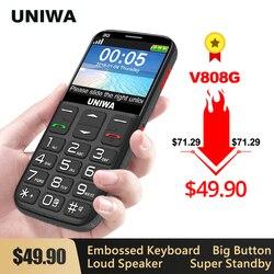 Uniwa v808g forte tocha botão alto celular grande sos 3g inglês teclado russo 10 dias de espera 3g wcdma móvel sênior