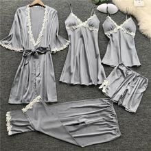 Goocheer 5Pcs/set Fashion Women Sexy Lingerie Lace Pajamas Set Night Elegnat Nightdress Sleepwear Suit PJ pyjama