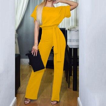 Office Ladies Elegant Jumpsuit Plus Size Loose Short Sleeve Wide Leg Long Casual Streetwear Women's Overalls High Waist Tunic 1