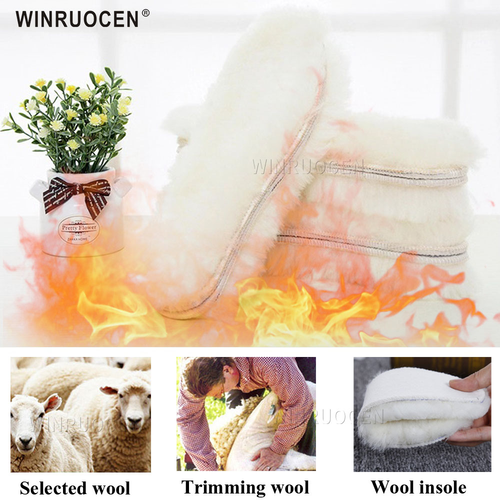1pair Imitation Cashmere Sheep Wool Shearling Snow Warm Winter Insoles