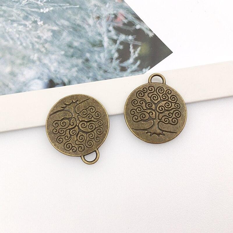 10pcs diy alloy jewelry accessories tree of life tree of wisdom round hollow necklace pendant earring pendant pendant