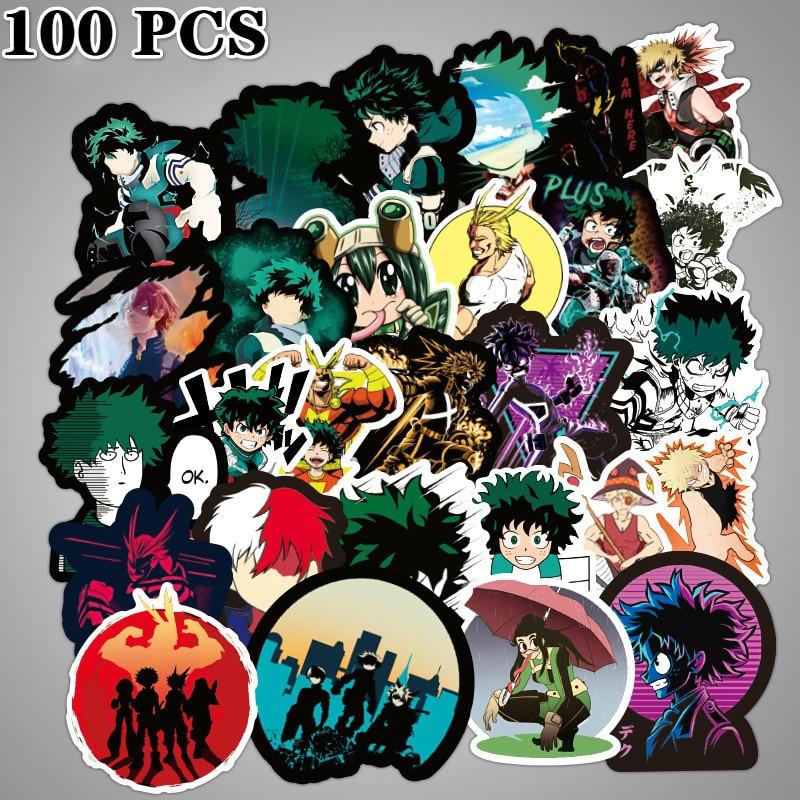 My Boku No Hero Academia PVC Adhesive Stickers For Laptop Luggage Car 50pcs//set