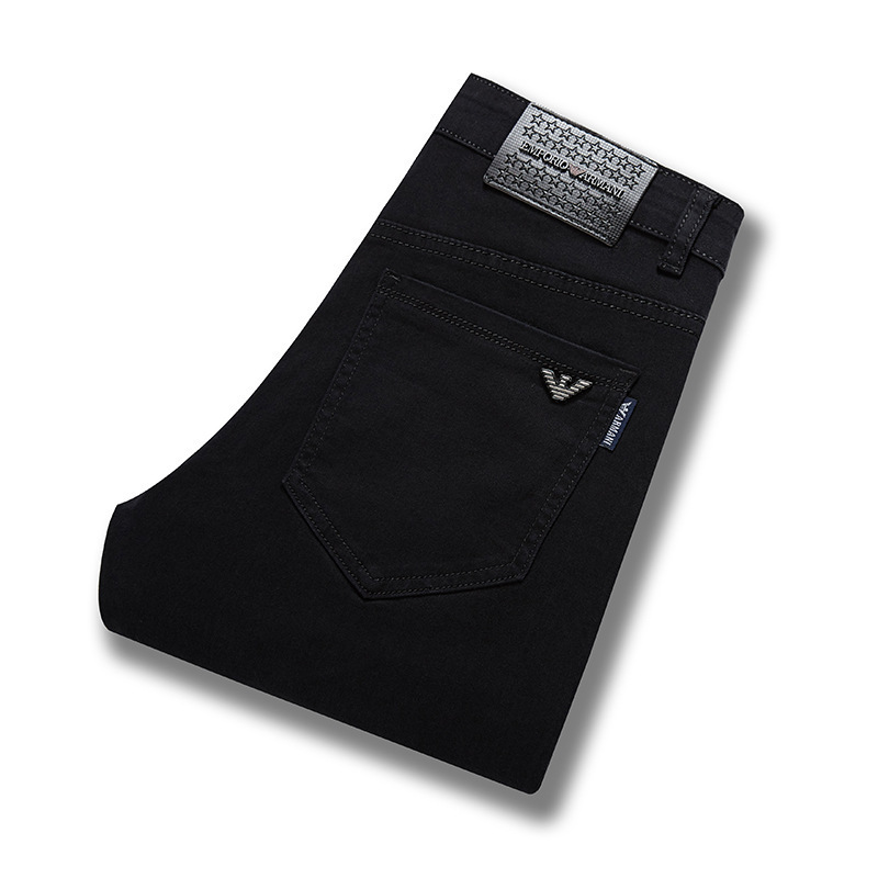 Brand Autumn And Winter New Style Solid Black MEN'S Jeans Large Size Elasticity No Ironing Straight-Cut Men's Trousers