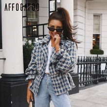 Affogatoo Casual loose women plaid tweed jacket coats Lanter