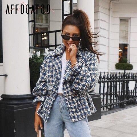 Affogatoo Casual loose women plaid tweed jacket coats Lantern sleeve streetwear coats Elastic high waist ladies outwear jackets Pakistan