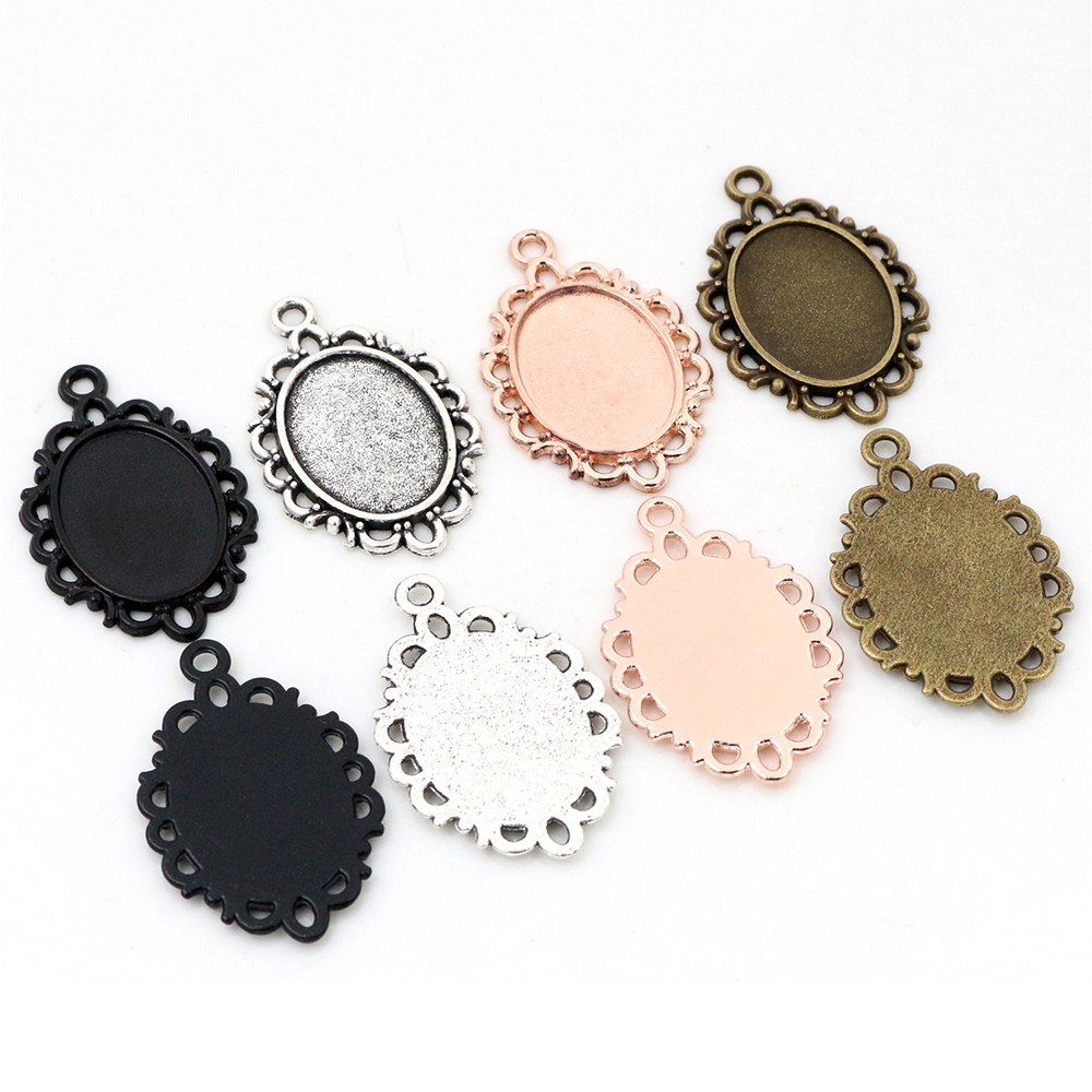 15pcs 13x18mm Inner Size 4 Colors Simple Style Cameo Cabochon Base Setting Charms Pendant Necklace Findings