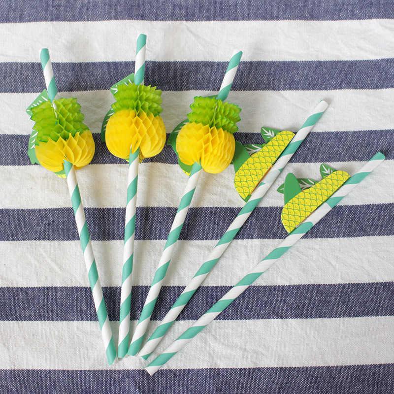 Tropikalny papierowe słomki z palmy i ananas projekt Charms-w paski dla hawajski Luau, imprezy przy basenie i imprez letnich