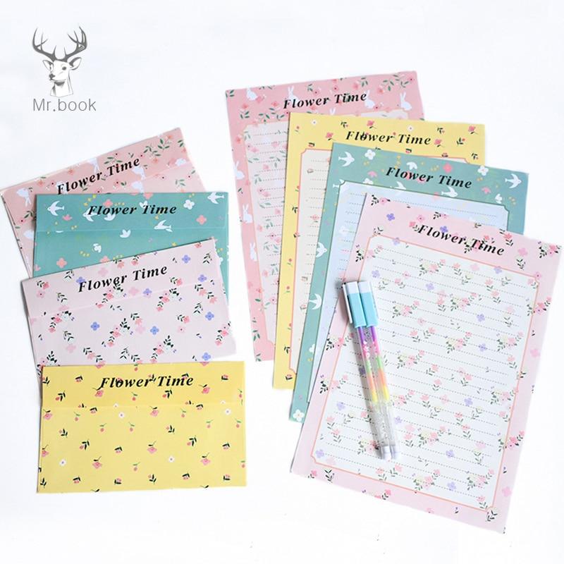 12 Sheets Letter Paper 6pcs Envelope Set Romantic Flower Writing Paper Envelope Letter Pad Drawing Greeting Card With Envelopes