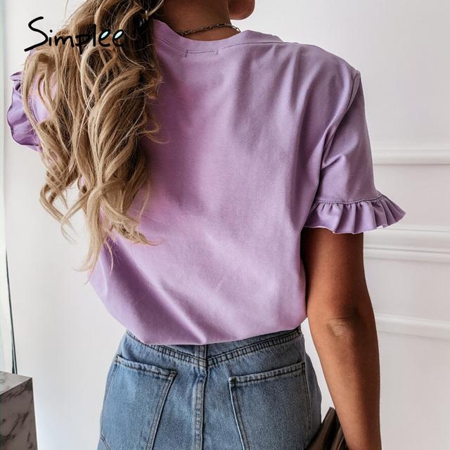 casual ruffles short sleeve plus size t shirts women