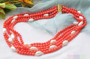 """ธรรมชาติ 5ROW 17-21 """"สีชมพูปะการังลูกปัดสีขาว baroque Pearl สร้อยคอ 6 มม."""